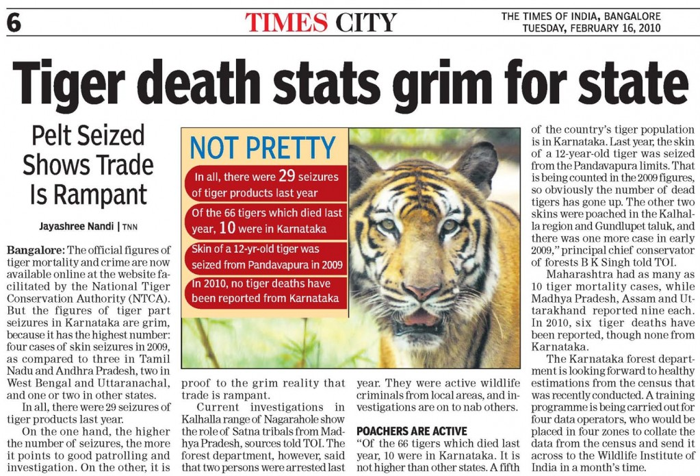 Tiger death stats grim for state - Times of India, Bangalore