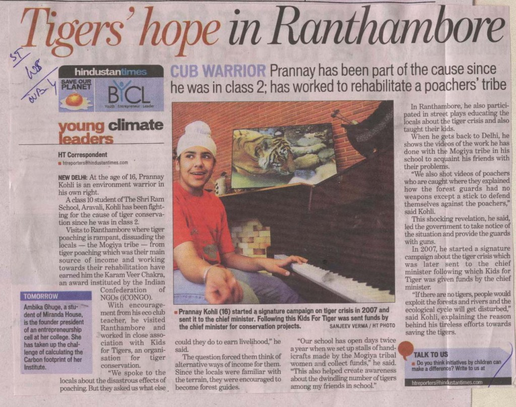 Tigers' hope in Ranthambore